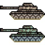 Vector pixel art tank. Isolated Stock Image