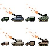 Vector pixel art tank war. Set Stock Images