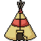 Vector pixel art tent camp. Isolated cartoon royalty free illustration