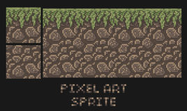 Vector pixel art texture of stone dirt land with grass platformer sprite Stock Photography
