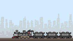 Vector pixel art train city. Landscape Stock Images