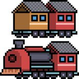 Vector pixel art train set. Isolated cartoon Stock Images