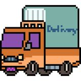 Vector pixel art truck. Isolated Stock Images
