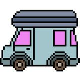 Vector pixel art van. Isolated Royalty Free Stock Photography