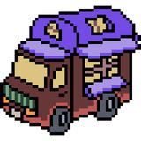 Vector pixel art van truck Royalty Free Stock Photo