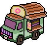 Vector pixel art van truck Royalty Free Stock Photography