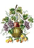 Vector pixel art. Vector illustration with Grapes, Peaches and Wine royalty free illustration