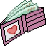 Vector pixel art wallet love Royalty Free Stock Photos