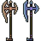 Vector pixel art weapon pole axe Stock Photography