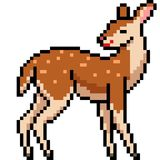 Vector Pixel Art Wild Female Deer Royalty Free Stock Image