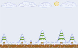 Vector pixel art winter day for video games Royalty Free Stock Image