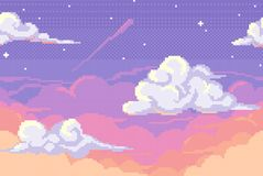 Vector pixel background with evening sky. And clouds. Seamless when docking horizontally Royalty Free Stock Image