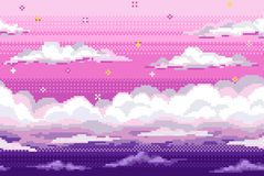 Vector pixel background with evening sky and clouds royalty free stock image