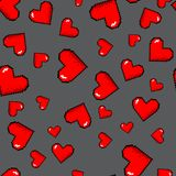 Vector pixel hearts pattern. Vector pixel 8 bit red hearts seamless pattern. Grey background vector illustration