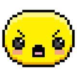 Pixel Cartoon Angry Face. Vector Pixel Cartoon Angry Face Stock Photo