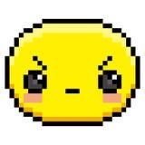 Pixel Cartoon Angry Face. Vector Pixel Cartoon Angry Face Stock Photography