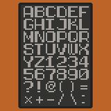Vector pixel font with uppercase letters of latin charset punсtuation marks and numbers Royalty Free Stock Photography
