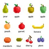 Vector pixel fruit collection Stock Images