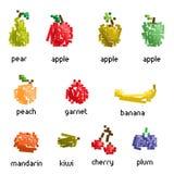 Vector pixel fruit collection Stock Photos