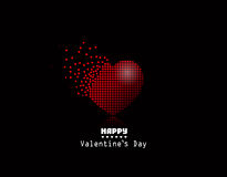 Vector pixel heart, Valentine Day background Stock Photo