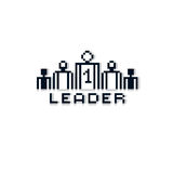 Vector pixel icon isolated, 8bit graphic element. Leader concept Royalty Free Stock Photography
