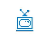 Vector pixel icon isolated, 8bit graphic element. Simplistic TV Stock Images