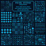 Vector pixel icons , collection of 8bit graphic elements Stock Photo