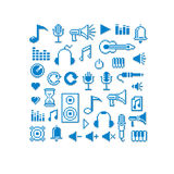Vector pixel icons , collection of 8bit music graphic el Royalty Free Stock Image