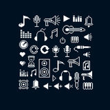 Vector pixel icons isolated, collection of 8bit music graphic el Royalty Free Stock Images