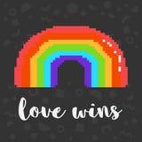 Vector pixel love wins rainbow. Vector rainbow 8 bit pixel art rainbow and phrase love wins. Trendy geometric decor on background. LGBT community symbol. Gay vector illustration