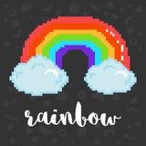 Vector pixel rainbow. Vector rainbow 8 bit pixel art rainbow in clouds and phrase rainbow. Trendy geometric decor on background. LGBT community symbol. Gay pride stock illustration