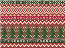 Vector pixel seamless winter holiday pattern with pines and snowflakes Royalty Free Stock Image