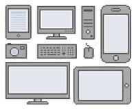 Vector pixel smart phones and gadgets Stock Photography
