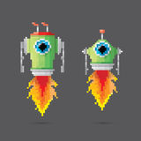 Vector pixel style robot set Stock Image