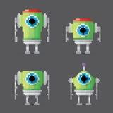 Vector pixel style robot set Royalty Free Stock Photos