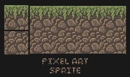 Vector Pixelkunstbeschaffenheit des Steinschmutzlandes mit Gras platformer Elfe Stockfotografie