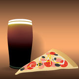 Vector pizza and beer eps10. Simple vector pizza and beer eps10 Royalty Free Illustration