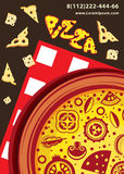 Vector pizza on a checkered napkin. Royalty Free Stock Images