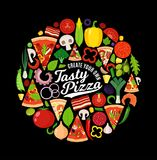 Vector pizza illustration with many ingredients Stock Photos