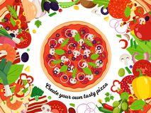 Vector pizza illustration with slices and many ingredients Stock Photos