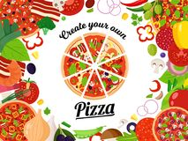 Vector pizza illutration with slices and many ingredients Stock Photos