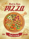 Vector Pizza Label or Poster Stock Photos