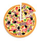 Vector Pizza mit dem geschnittenen Stück, das auf Weiß getrennt wird Stockfotos