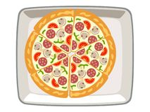 Vector pizza mushrooms in the top dish White background vector illustration