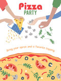Vector Pizza Party Invitation Poster Flyer. Dinner Stock Image