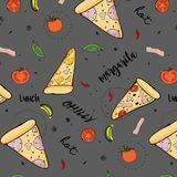 Vector pizza pattern. Italian food cartoon illustration. Backed lunch with mushrooms, paper, mozzarella, sause. Vector pizza pattern. Italian food cartoon Royalty Free Stock Images
