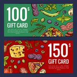 Vector pizza restaurant or shop giftcard or discount templates royalty free illustration