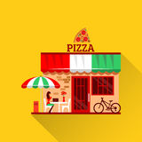 Vector of pizza restaurant with terrace in front Royalty Free Stock Photography