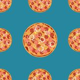 Vector pizza seamless pattern. Can be used to design menu, business cards, posters, decorating shop windows and signage Stock Images