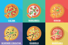 Vector pizza set. Stock Photos